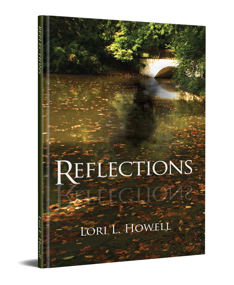Reflections - book cover - shows a pond reflecting tress and an arched walking bridge in the background.